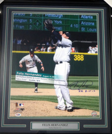 "Felix Hernandez Autographed Framed 16x20 Photo Seattle Mariners ""P.G. 8-15-12"" Perfect Game PSA/DNA Stock #94160"