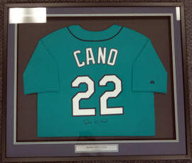 Seattle Mariners Robinson Cano Autographed Framed Teal Majestic Jersey PSA/DNA ITP Stock #94213