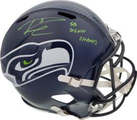 "Russell Wilson Autographed Seattle Seahawks Full Size Replica Speed Helmet ""SB XLVIII Champs"" In Green RW Holo Stock #94267"