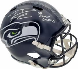 "Russell Wilson Autographed Seattle Seahawks Full Size Replica Speed Helmet ""SB XLVIII Champs"" In Silver RW Holo Stock #94268"