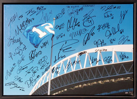 """Seattle Seahawks Super Bowl XLVIII Champion Autographed Framed 20x30 Canvas Photo """"SB XLVIII Champs!"""" With 42 Signatures Including Russell Wilson & Marshawn Lynch #/112 MCS Holo Stock #94470"""
