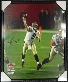 Drew Brees Autographed Framed 24x30 Canvas Photo New Orleans Saints #/9 PSA/DNA Stock #94475
