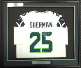 Seattle Seahawks Richard Sherman Autographed Framed White Nike Jersey RS Holo Stock #97703