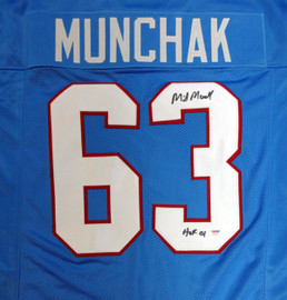 "Houston Oilers Mike Munchak Autographed Blue Jersey ""HOF 2001"" PSA/DNA Stock #99428"