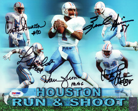 "Houston Oilers Run & Shoot Autographed 8x10 Photo ""HOF 06"" With 5 Signatures Including Warren Moon PSA/DNA Stock #102372"