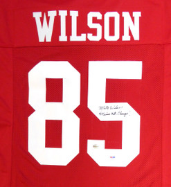 """San Francisco 49ers Mike Wilson Autographed Red Jersey """"4X SB Champs!"""" PSA/DNA Stock #104071"""