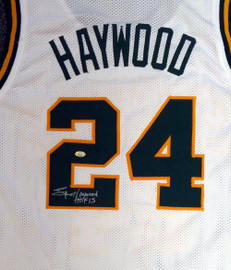 "Seattle Sonics Spencer Haywood Autographed White Jersey ""HOF 15"" MCS Holo Stock #104225"