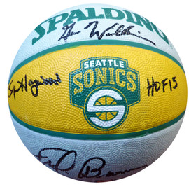 "Fred Brown, Gus Williams & Spencer Haywood ""HOF 15"" Autographed Seattle Sonics Basketball MCS Holo Stock #104227"