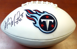 Marcus Mariota Autographed White Logo Football Tennessee Titans MM Holo Stock #104780