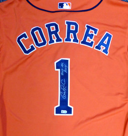 "Houston Astros Carlos Correa Autographed Authentic Majestic Orange Jersey Size 44 ""2015 AL ROY"" MLB Holo Stock #104882"