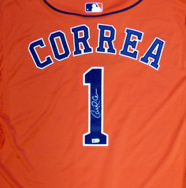 Houston Astros Carlos Correa Autographed Authentic Majestic Orange Jersey Size 48 2015 Postseason Patch MLB Holo Stock #104883