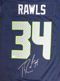 Seattle Seahawks Thomas Rawls Autographed Blue Nike Jersey Size L MCS Holo Stock #105074