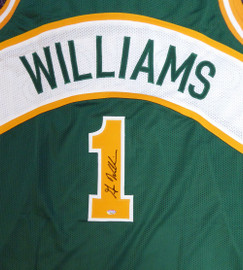 Seattle Sonics Gus Williams Autographed Green Jersey MCS Holo Stock #106742