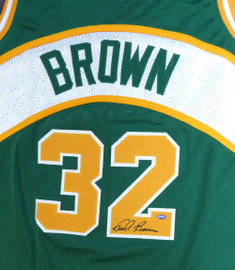 Seattle Sonics Fred Brown Autographed Green Jersey MCS Holo Stock #106743