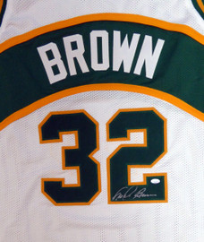 Seattle Sonics Fred Brown Autographed White Jersey MCS Holo Stock #106744