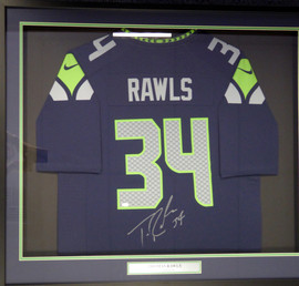 Seattle Seahawks Thomas Rawls Autographed Framed Blue Nike Jersey MCS Holo Stock #107763
