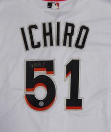 Miami Marlins Ichiro Suzuki Autographed White Majestic Authentic Flex Base Jersey Size 48 IS Holo Stock #107891
