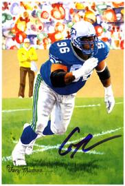 Cortez Kennedy Autographed Goal Line Art Postcard Seattle Seahawks MCS Holo Stock #110754