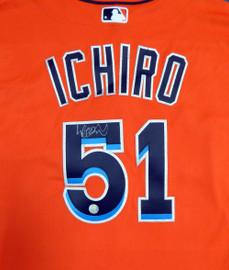 Miami Marlins Ichiro Suzuki Autographed Orange Majestic Authentic Flex Base Jersey Size 48 IS Holo Stock #111455