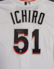 Miami Marlins Ichiro Suzuki Autographed White Majestic Authentic Cool Base Jersey Size 44 IS Holo Stock #111457