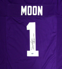 "Washington Huskies Warren Moon Autographed Purple Jersey ""78 Rose Bowl MVP"" MCS Holo Stock #112488"