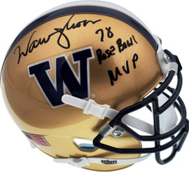 "Warren Moon Autographed Washington Huskies Mini Helmet ""78 Rose Bowl MVP"" MCS Holo Stock #112493"