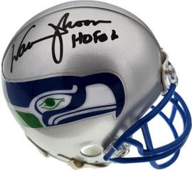 """Warren Moon Autographed Seattle Seahawks Mini Helmet """"HOF 06"""" MCS Holo Stock #112496"""
