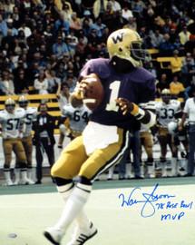 "Warren Moon Autographed 16x20 Photo Washington Huskies ""78 Rose Bowl MVP"" MCS Holo Stock #112506"