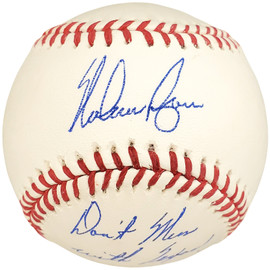 "Nolan Ryan Autographed Official MLB Baseball Texas Rangers ""Don't Mess With Texas"" NR Holo Stock #112535"