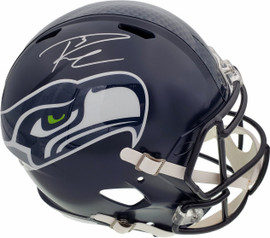 Russell Wilson Autographed Seattle Seahawks Speed Full Size Helmet In Silver RW Holo Stock #113611