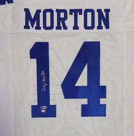 Dallas Cowboys Craig Morton Autographed White Jersey Beckett BAS Stock #120026