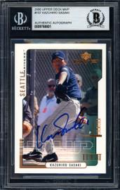 Kazuhiro Sasaki Autographed 2000 Upper Deck MVP Rookie Card #107 Seattle Mariners Beckett BAS Stock #120870