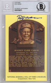 Rod Carew Autographed HOF Plaque Postcard Twins, Angels Beckett BAS Stock #120999