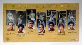UCLA Bruins Legends Autographed 22x40 Lithograph With 7 Signatures Including Kareem Abdul-Jabbar, John Wooden & Bill Walton Beckett BAS Stock #121631