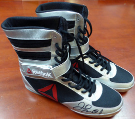 Floyd Mayweather Jr. Autographed Reebok Silver Boxing Shoes Beckett BAS Stock #121801