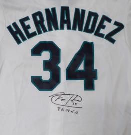 "Seattle Mariners Felix Hernandez Autographed White Majestic Jersey ""PG 8-15-12"" Size XL MLB Holo Stock #124656"