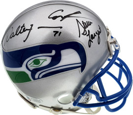 Seattle Seahawks Ring Of Honor Autographed Mini Helmet With 5 Signatures Including Steve Largent, Cortez Kennedy, Walter Jones, Jim Zorn & Curt Warner Beckett BAS & MCS Holo Stock #124681