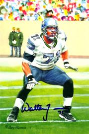 Walter Jones Autographed Goal Line Art Postcard Card #284 Seattle Seahawks MCS Holo Stock #124980