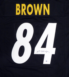 Pittsburgh Steelers Antonio Brown Autographed Black Jersey Beckett BAS Stock #126633