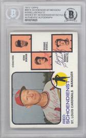 Red Schoendienst & Barney Schlutz Autographed 1973 Topps Card #497 St. Louis Cardinals Beckett BAS #10210023