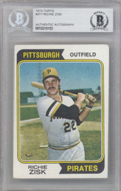 Richie Zisk Autographed 1974 Topps Card #317 Pittsburgh Pirates Beckett BAS #10210153