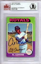 Al Cowens Autographed 1975 Topps Mini Rookie Card #437 Kansas City Royals Beckett BAS #10211286