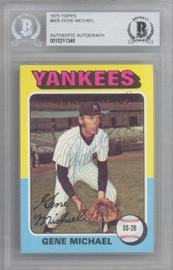 Gene Michael Autographed 1975 Topps Card #608 New York Yankees Beckett BAS #10211348