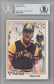Mike Ivie Autographed 1978 Topps Card #445 San Diego Padres Beckett BAS #10211481