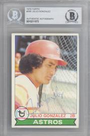 Julio Gonzalez Autographed 1979 Topps Card #268 Houston Astros Beckett BAS #10211573