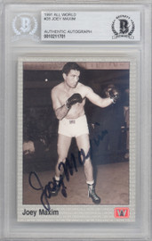 Joey Maxim Autographed 1991 All World Sports Card #28 Beckett BAS #10211701