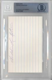 Freddy Lindstrom Autographed 3x5 Index Card New York Giants Beckett BAS #10213037
