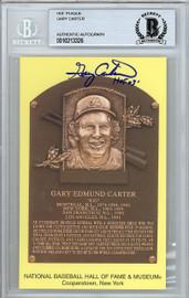 "Gary Carter Autographed HOF Plaque Postcard Expos, Mets ""HOF 03"" Beckett BAS STOCK #128122"