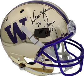 "Warren Moon Autographed Washington Huskies Full Size Schutt Replica Gold Chrome Helmet ""78 Rose Bowl MVP"" MCS Holo Stock #128008"