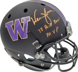 "Warren Moon Autographed Washington Huskies Full Size Schutt Matte Black Helmet ""78 Rose Bowl MVP"" MCS Holo Stock #128010"
